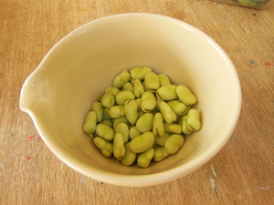 broad beans out of their pods